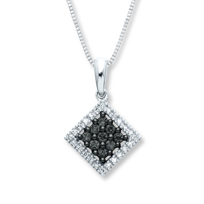 Kay Jewelers Black Diamond Necklace 1/4 ct tw Diamonds 14K White Gold- More