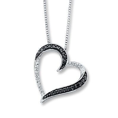 Kay Jewelers Diamond Heart Necklace 1/10 ct tw Round-cut Sterling Silver- Hearts