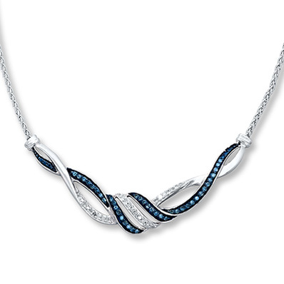 Kay Jewelers Blue Diamond Necklace 1/3 ct tw Round-cut Sterling Silver- More