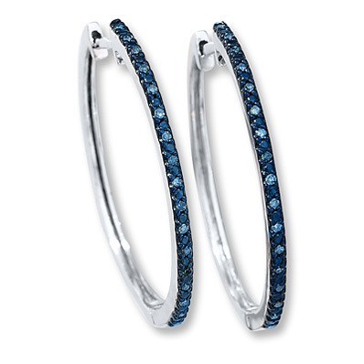 photo of Kay Jewelers Diamond Hoop Earrings 1/8 ct tw Blue Diamonds Sterling Silver- More