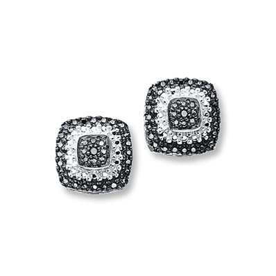 Kay Jewelers Black Diamond Earrings Sterling Silver- More