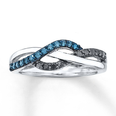 Kay Jewelers Black & Blue Diamonds 1/4 ct tw Ring Sterling Silver- Ladies' Diamond Fashion