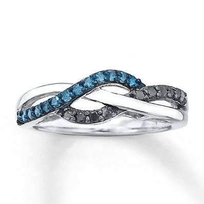 photo of Kay Jewelers Black & Blue Diamonds 1/4 ct tw Ring Sterling Silver- Ladies' Diamond Fashion