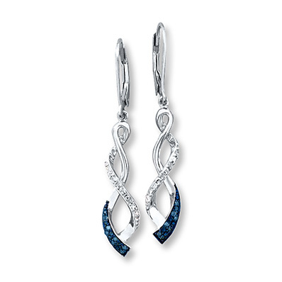 photo of Kay Jewelers Blue Diamond Earrings 1/6 ct tw Round-cut Sterling Silver- More