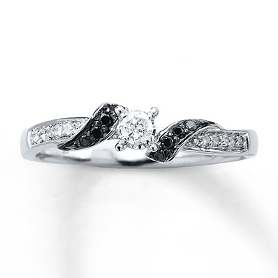 Kay Jewelers Black Diamond Ring 1/6 ct tw Round-cut Sterling Silver- Ladies' Diamond Fashion