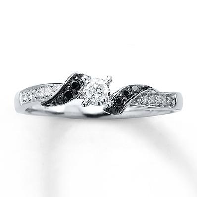 photo of Kay Jewelers Black Diamond Ring 1/6 ct tw Round-cut Sterling Silver- Ladies' Diamond Fashion