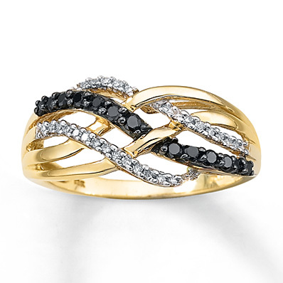 Kay Jewelers Black Diamond Ring 1/4 ct tw Round-cut 10K Yellow Gold- Ladies' Diamond Fashion