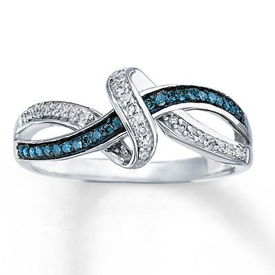 Kay Jewelers Blue & White Diamonds 1/6 ct tw Ring Sterling Silver- Ladies' Diamond Fashion