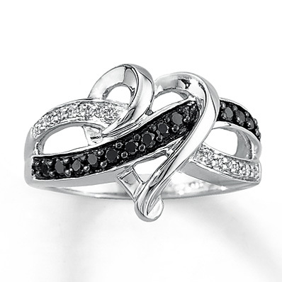 Kay Jewelers Diamond Heart Ring 1/10 ct tw Round-cut Sterling Silver- Ladies' Diamond Fashion