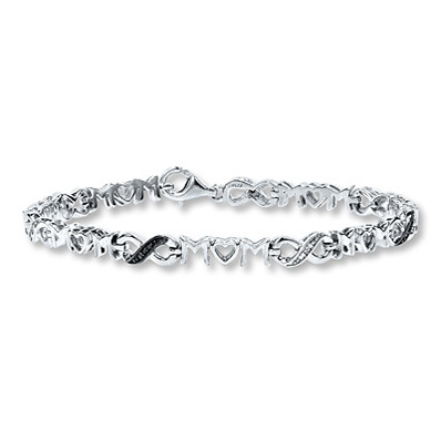 "Kay Jewelers Diamond ""Mom"" Bracelet Black & White Diamonds Sterling Silver- Diamond"