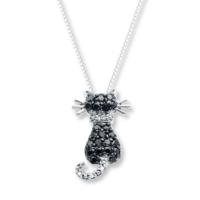 photo of Kay Jewelers Black Cat Necklace 1/3 ct tw Diamonds 10K White Gold- Diamond