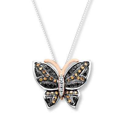 Kay Jewelers Butterfly Necklace 1/3 ct tw Diamonds Sterling Silver/10K Gold- Diamond