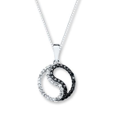 photo of Kay Jewelers Yin-Yang Necklace 1/5 ct tw Diamonds 10K White Gold- Diamond