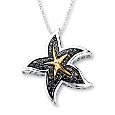 Kay Jewelers Starfish Necklace 1/3 ct tw Diamonds Sterling Silver/10K Gold- Diamond