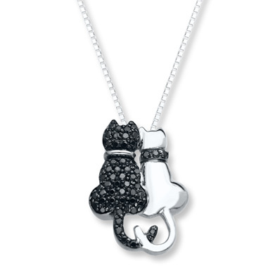 Kay Jewelers Cat Necklace 1/3 ct tw Black Diamonds Sterling Silver- Diamond