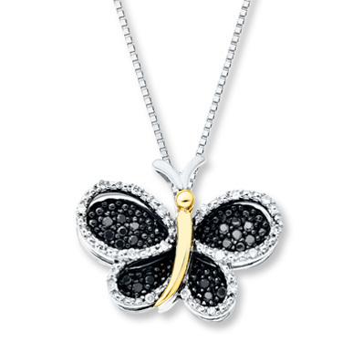 Kay Jewelers Butterfly Necklace 1/6 ct tw Diamonds Sterling Silver/10K Gold- Diamond