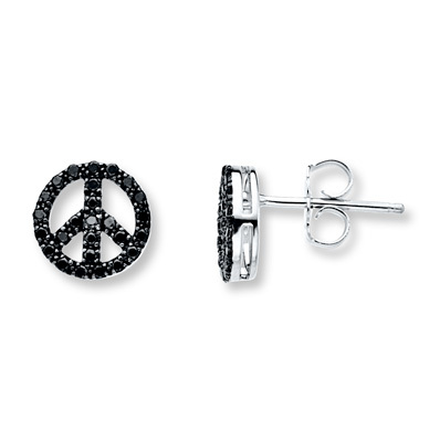 photo of Kay Jewelers Peace Sign Earrings 1/4 ct tw Black Diamonds Sterling Silver- Diamond