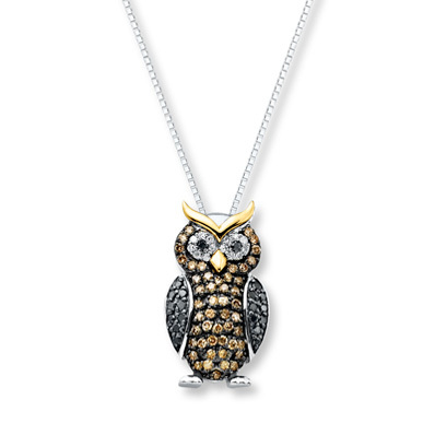 Kay Jewelers Owl Necklace 3/8 ct tw Diamonds Sterling Silver/10K Gold- Diamond