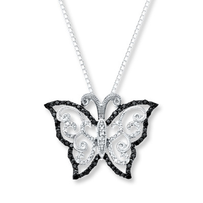 Kay Jewelers Butterfly Necklace 1/4 ct tw Diamonds Sterling Silver- Diamond