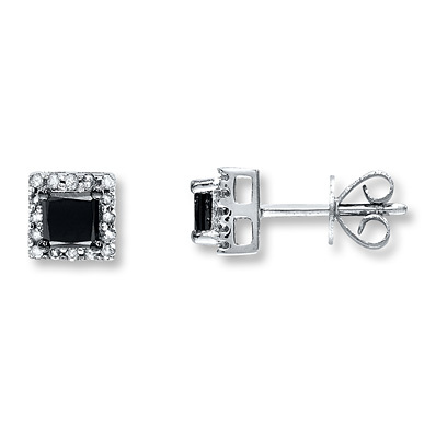 Kay Jewelers Black Diamond Earrings 1 ct tw Princess-cut 10K White Gold- Diamond