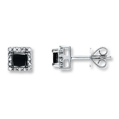 photo of Kay Jewelers Black Diamond Earrings 1 ct tw Princess-cut 10K White Gold- Diamond