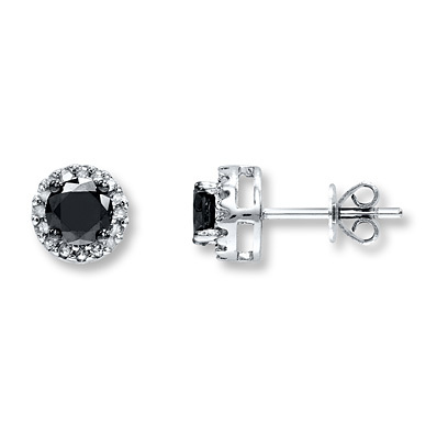 Kay Jewelers Black Diamond Earrings 1 ct tw Round-cut 10K White Gold- Diamond