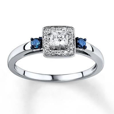 kay jewelers bluewhite diamond ring 13 carat tw 10k white gold engagement rings