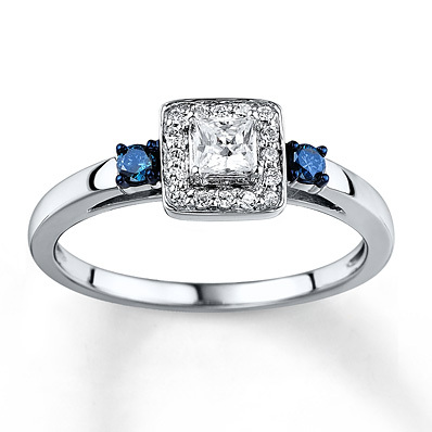 Kay Jewelers Blue/White Diamond Ring 1/3 carat tw 10K White Gold- Engagement Rings