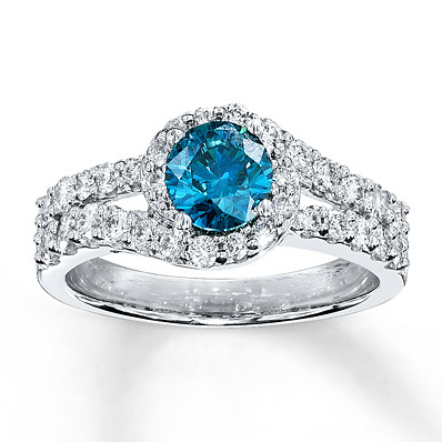 Kay Jewelers Blue Diamond Ring 1 3/8 ct tw Round-cut 14K White Gold- Engagement Rings