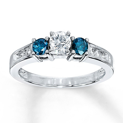 Kay Jewelers Blue Diamond Ring 3/4 ct tw Round-cut 10K White Gold- Engagement Rings