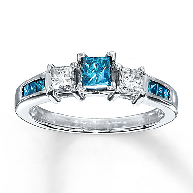 Kay Jewelers Blue Diamond Ring 3/4 ct tw Princess-cut 10K White Gold- Engagement Rings
