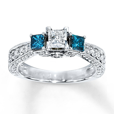 Kay Jewelers Blue Diamond Ring 1 carat tw Princess-Cut 14K White Gold- Engagement Rings