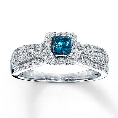 Kay Jewelers Blue Diamond Ring 1/2 carat tw Princess-cut 10K White Gold- Engagement Rings