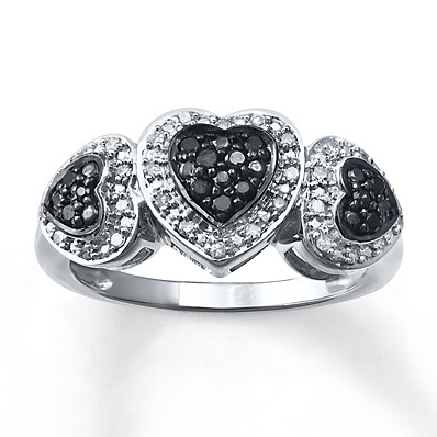 Kay Jewelers Black/White Diamond Ring 1/4 ct tw Round-cut Sterling Silver- Women's Diamond Fashion