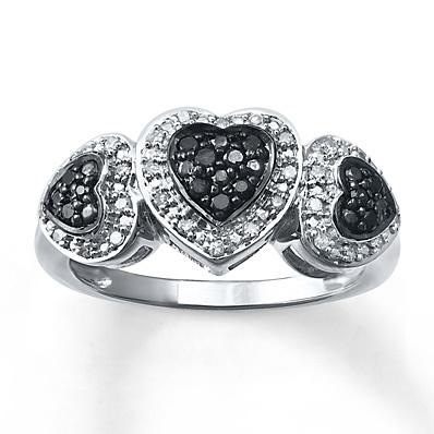 photo of Kay Jewelers Black/White Diamond Ring 1/4 ct tw Round-cut Sterling Silver- Women's Diamond Fashion
