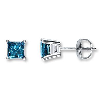 Kay Jewelers Blue Diamond Earrings 1 Ct Tw Princess Cut 10k