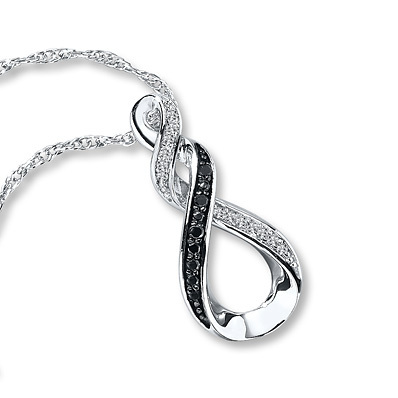 Kay Jewelers Black/White Diamonds 1/15 ct tw Necklace Sterling Silver- Diamond