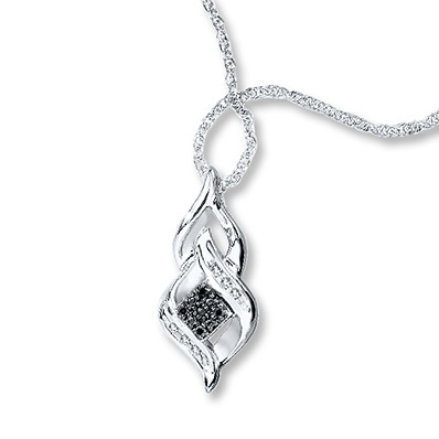 Kay Jewelers Black/White Diamonds 1/20 ct tw Necklace Sterling Silver- Diamond