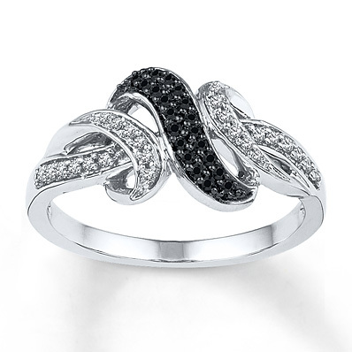Kay Jewelers Black/White Diamond Ring 1/5 ct tw Round-cut Sterling Silver- Women's Diamond Fashion