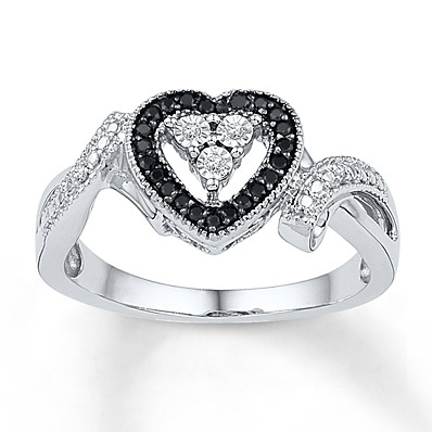 Kay Jewelers Black/White Diamond Ring 1/10 ct tw Round-cut Sterling Silver- Promise Rings