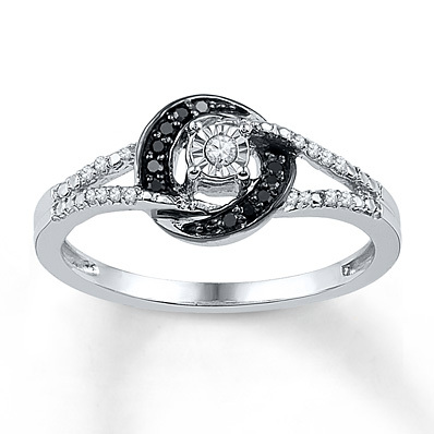 photo of Kay Jewelers Black/White Diamond Ring 1/8 ct tw Round-cut Sterling Silver- Women's Diamond Fashion