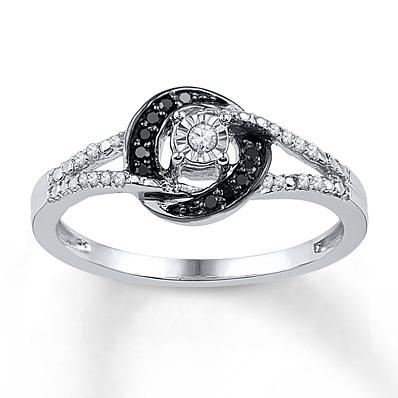 photo of Kay Jewelers Black/White Diamond Ring 1/8 ct tw Round-cut Sterling Silver- Women's Diamond Fashion