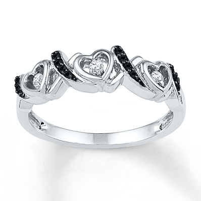 Kay Jewelers Black/White Diamond Ring 1/8 ct tw Round-cut Sterling Silver- Women's Diamond Fashion