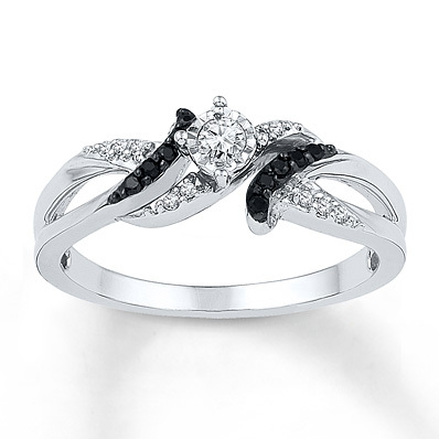 photo of Kay Jewelers Black Diamond Ring 1/6 ct tw Round-cut Sterling Silver- Women's Diamond Fashion