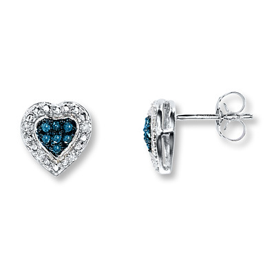 Kay Jewelers Blue/White Diamonds 1/6 ct tw Earrings 10K White Gold- Diamond Earrings