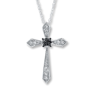 Kay Jewelers Diamond Cross Necklace 1/6 ct tw Round-cut Sterling Silver- Diamond Necklaces & Pendants