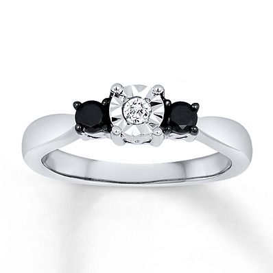 Kay Jewelers Black/White Diamond Ring 1/4 ct tw Round-cut Sterling Silver- 3 Stone Diamond