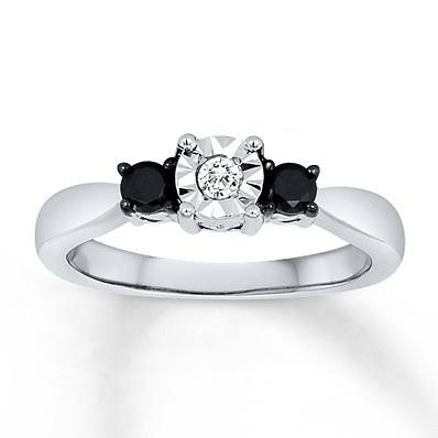 photo of Kay Jewelers Black/White Diamond Ring 1/4 ct tw Round-cut Sterling Silver- 3 Stone Diamond