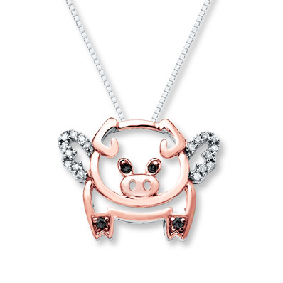 Kay Jewelers Flying Pig Necklace 1/10 ct tw Diamond Sterling Silver/10K Gold- Diamond
