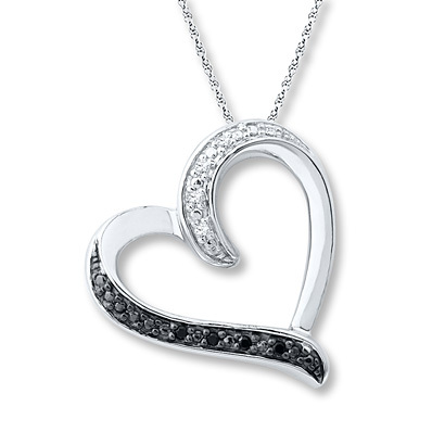Kay Jewelers Heart Necklace Black and White Diamonds Sterling Silver- Diamond Necklaces & Pendants